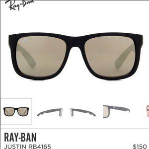 New Ray Ban Justin Gold Mirror Sunglasses Wayfarer